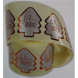 Rollo 250 etiquetas Navidad